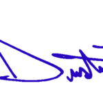 Dustin Johnson first name only signature – blue
